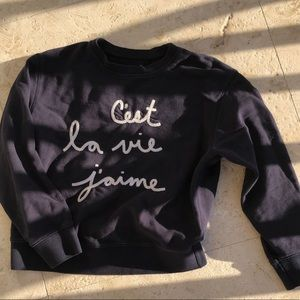 Tops - Navy French saying crewneck
